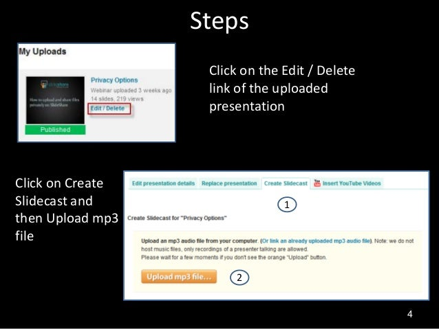 how to add slide show to audio