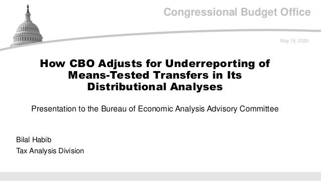 Congressional Budget Office Presentation to the Bureau of Economic Analysis Advisory Committee May 15, 2020 Bilal Habib Ta...