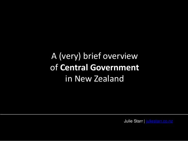 A (very) brief overview  of Central Government  in New Zealand  Julie Starr | juliestarr.co.nz