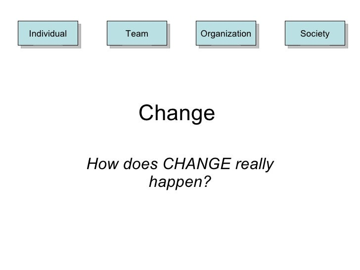 Change  How does CHANGE really happen? Society Individual Team Organization