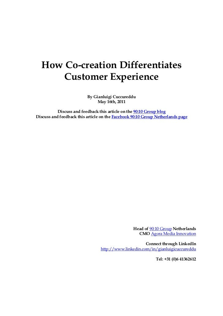 How Co-creation Differentiates      Customer Experience                          By Gianluigi Cuccureddu                  ...