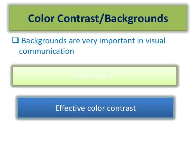 Color Contrast/Backgrounds Backgrounds are very important in visualcommunicationPOOR VISIBILITYEffective color contrast