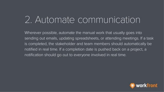 2. Automate communication Wherever possible, automate the manual work that usually goes into sending out emails, updating ...