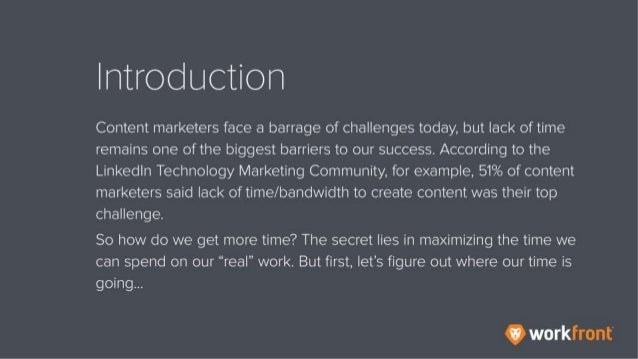 Introduction Content marketers face a barrage of challenges today, but lack of time remains one of the biggest barriers to...