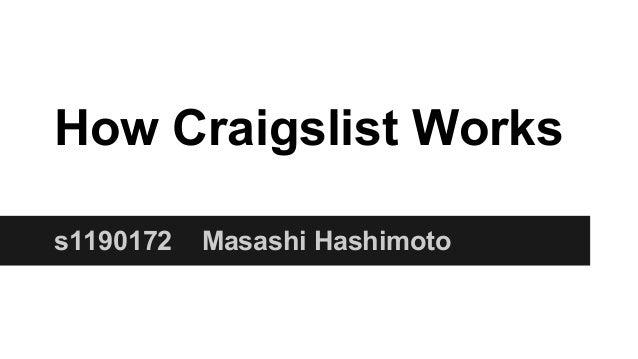 How Craigslist Works s1190172 Masashi Hashimoto