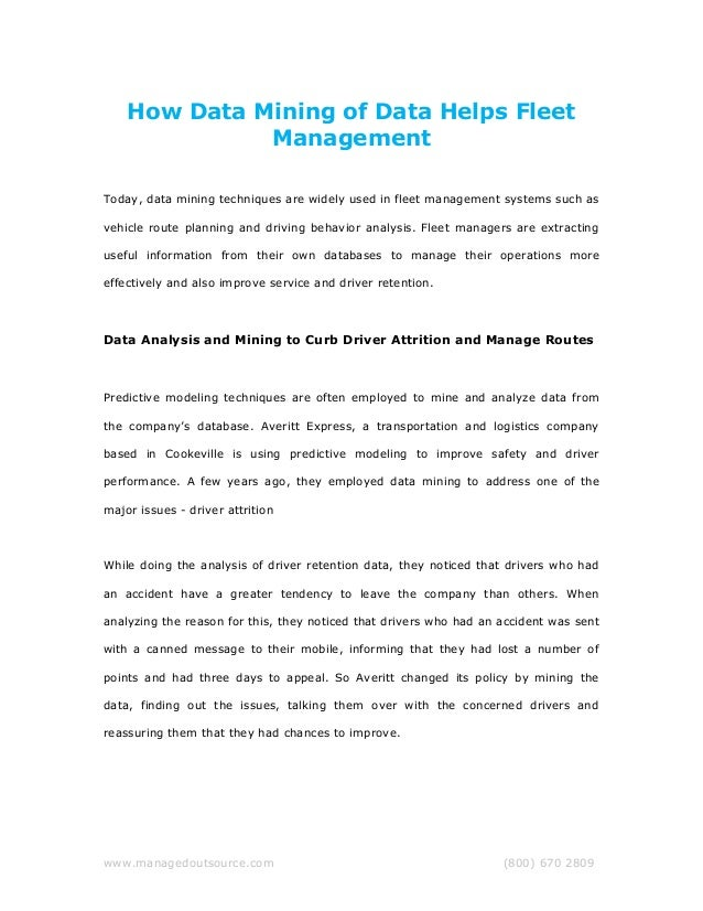 How Data Mining of Data Helps Fleet Management Today, data mining techniques are widely used in fleet management systems s...