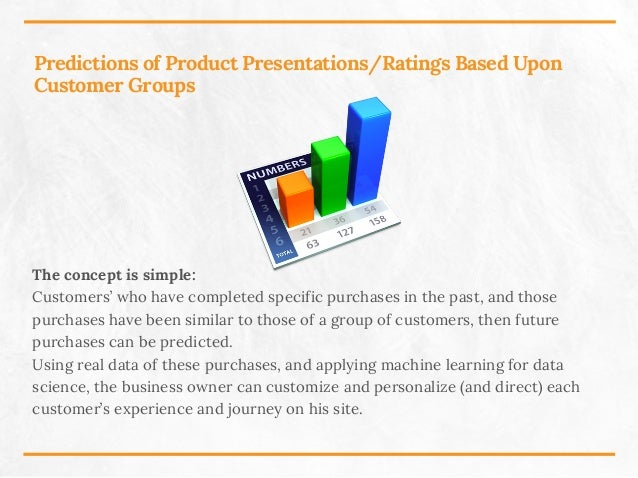 Predictions of Product Presentations/Ratings Based Upon Customer Groups The concept is simple: Customers' who have complet...