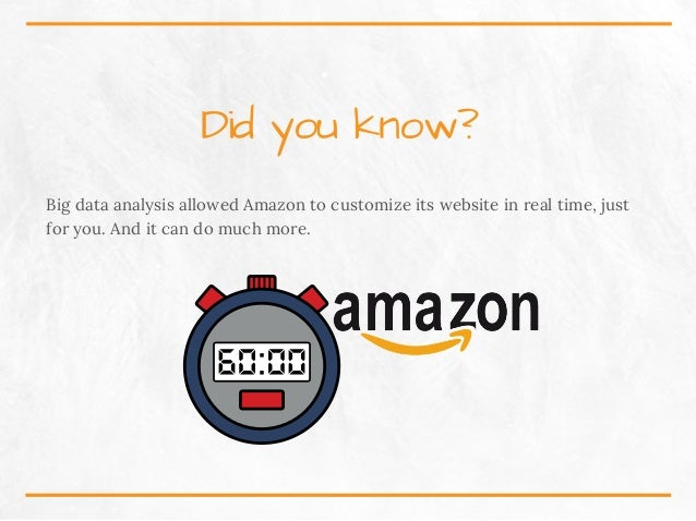 Didyouknow? Big data analysis allowed Amazon to customize its website in real time, just for you. And it can do much mor...
