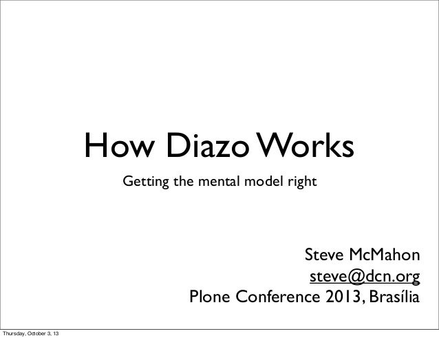 How Diazo Works Getting the mental model right Steve McMahon steve@dcn.org Plone Conference 2013, Brasília Thursday, Octob...