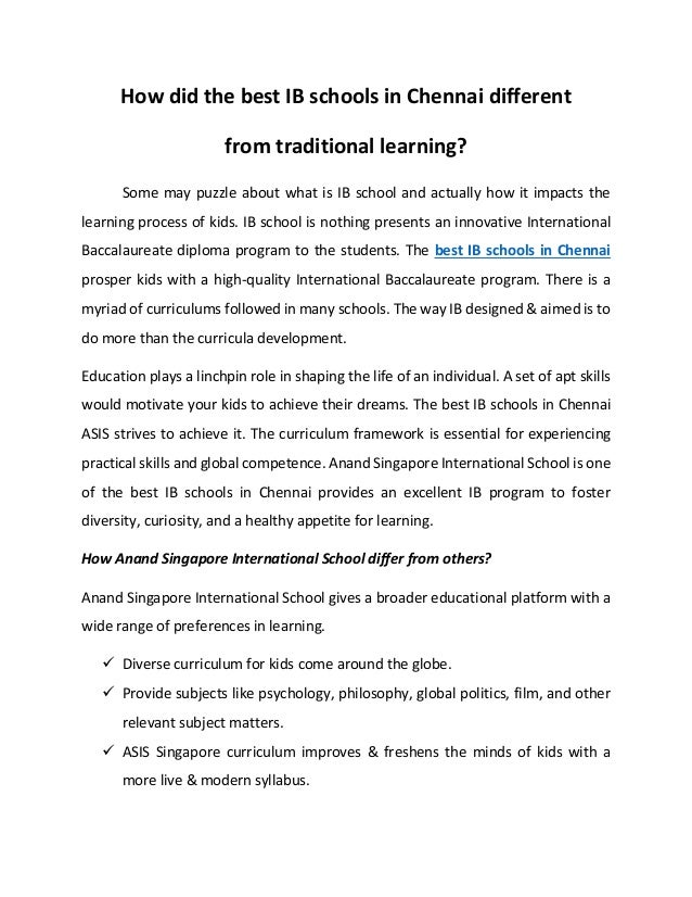 How did the best IB schools in Chennai different from traditional learning? Some may puzzle about what is IB school and ac...