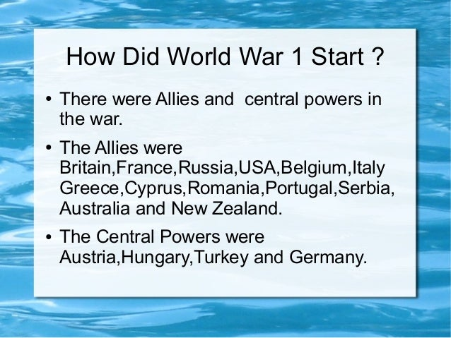why did ww1 start essay Unresolved rivalries still extant at the end of the conflict contributed to the start it did not join the russian soldiers in france began.
