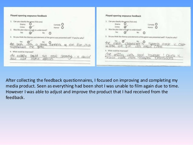 After collecting the feedback questionnaires, I focused on improving and completing my media product. Seen as everything h...