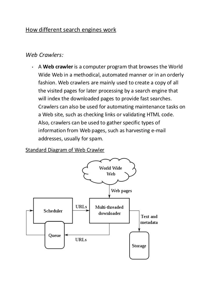 How different search engines workWeb Crawlers:  •   A Web crawler is a computer program that browses the World      Wide W...