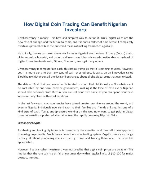 How Digital Coin trading can Benefit Nigerian Investors