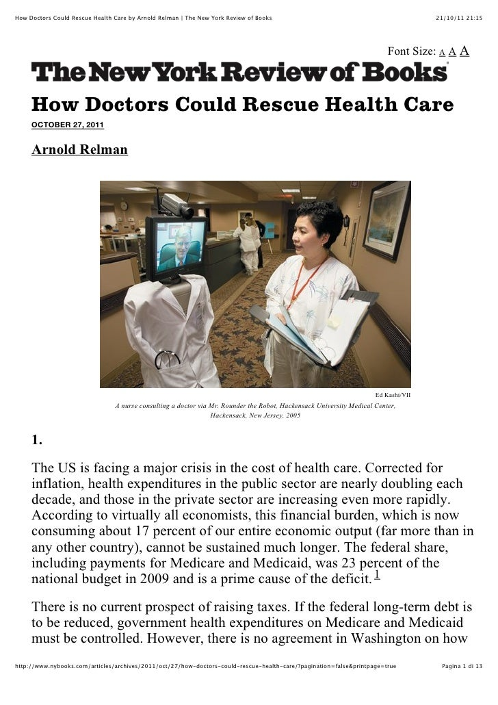 How Doctors Could Rescue Health Care by Arnold Relman | The New York Review of Books                                      ...