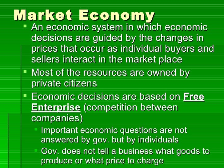 how do economic systems answer the basic economic questions  11 market economy