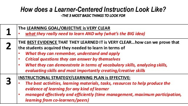 How Does A Learner Centered Instruction Look Like