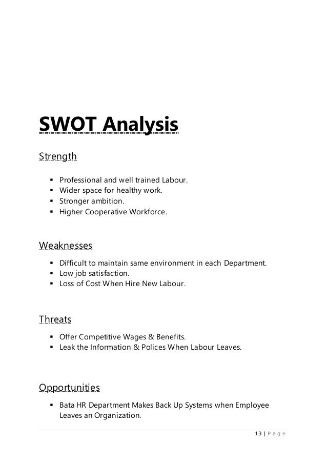 swot analysis of bata pakistan A business analysis of malayan banking berhad, the largest financial services group in malaysia, is provided, focusing on the strengths, weaknesses, opportunities and threats (swot) faced by the company.