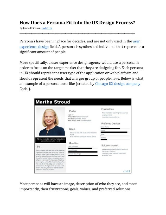 How Does a Persona Fit Into the UX Design Process? By Jenna Erickson, Codal Inc _______________...