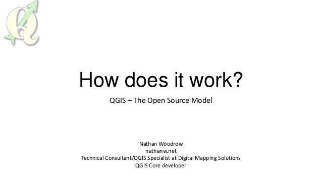 How does it work?QGIS – The Open Source ModelNathan Woodrownathanw.netTechnical Consultant/QGIS Specialist at Digital Mapp...