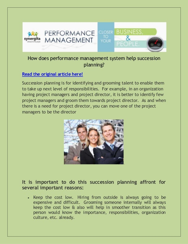 How does performance management system help succession planning? Read the original article here! Succession planning is fo...