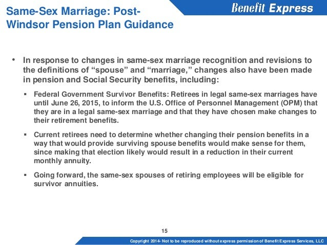 Same sex marriages and healthcare benefits