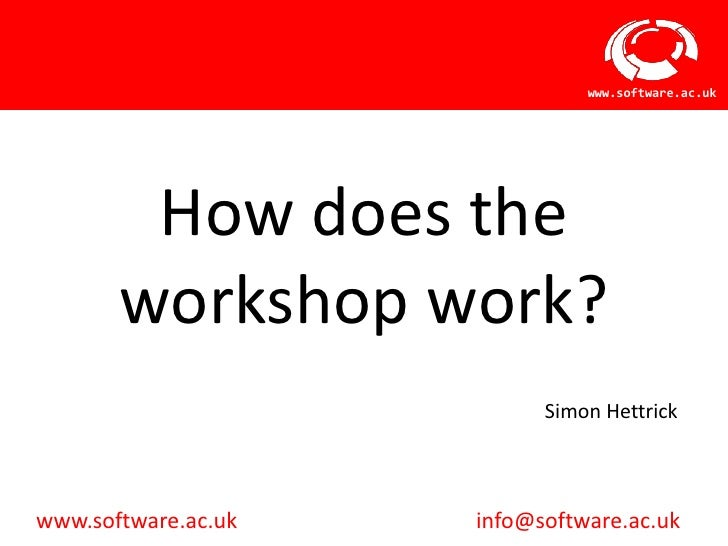 www.software.ac.uk        How does the       workshop work?                           Simon Hettrickwww.software.ac.uk   i...
