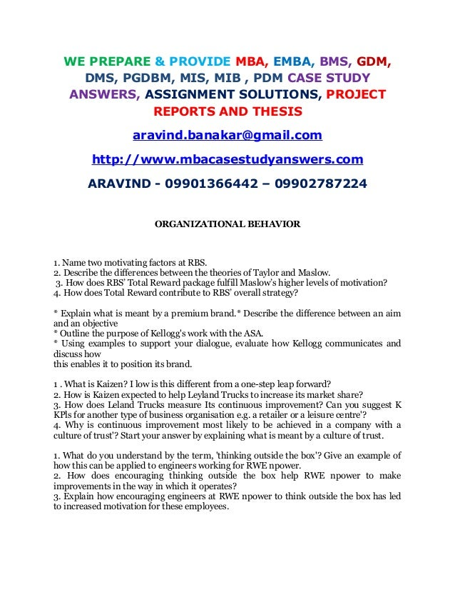 organizational behavior case study with solution pdf