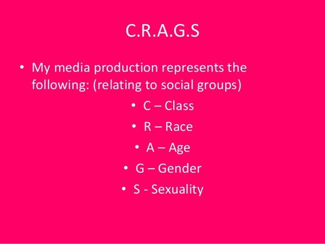 C.R.A.G.S• My media production represents the  following: (relating to social groups)                    • C – Class      ...