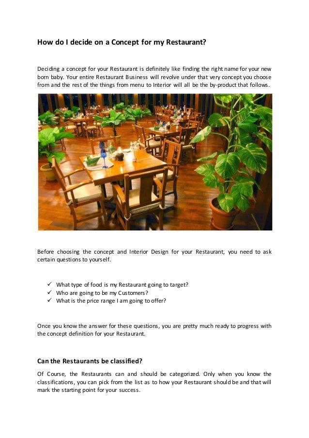 how do i decide on a concept for my restaurant rh slideshare net