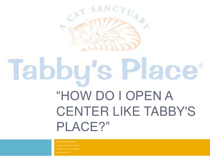 """How do I Open a Center Like Tabby's Place?""<br />Jonathan Rosenberg<br />Founder & Executive Director<br />Tabby's Place:..."
