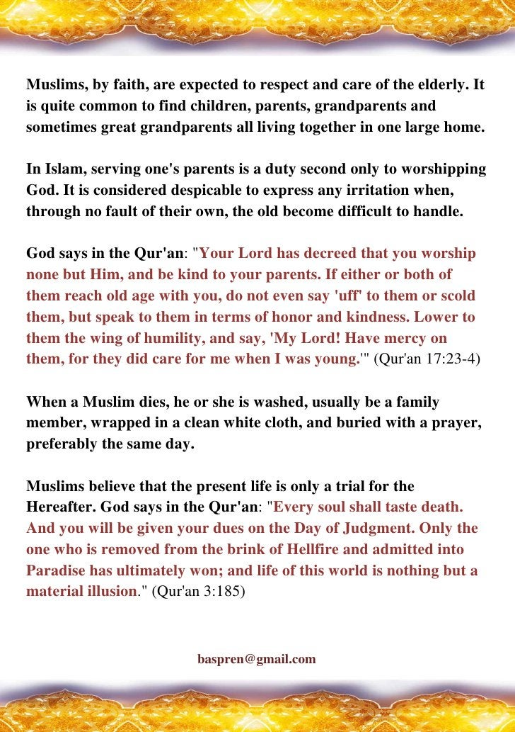 How Do Muslim View The Elderly, Death, And The Afterlife ?
