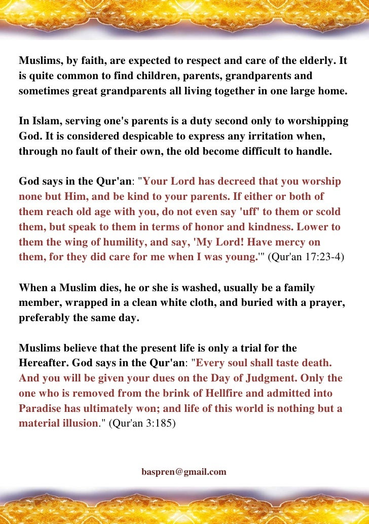 How Do Muslim View The Elderly, Death, And The Afterlife ? Slide 2
