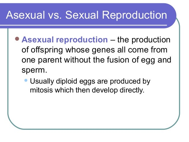 Asexual reproduction requires the production of eggs and sperm
