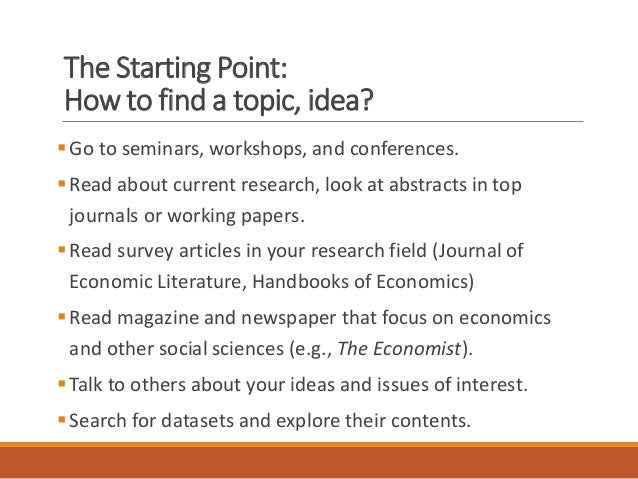 ideas for economic research papers