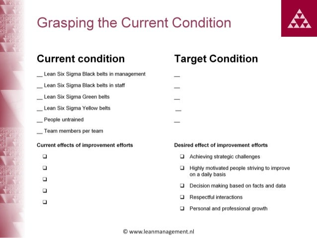 How do we get started with toyota kata improvement kata handbook 7 grasping the current condition current condition target condition lean sciox Choice Image