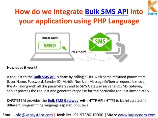 How do we integrate bulk sms api into your application using php language Slide 2