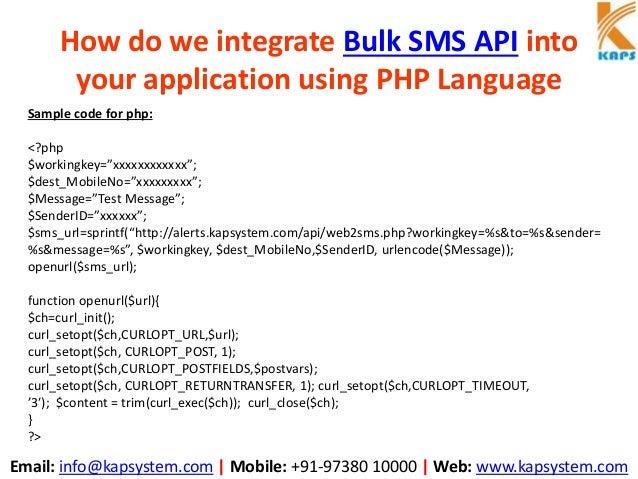 How do we integrate bulk sms api into your application using php language Slide 3