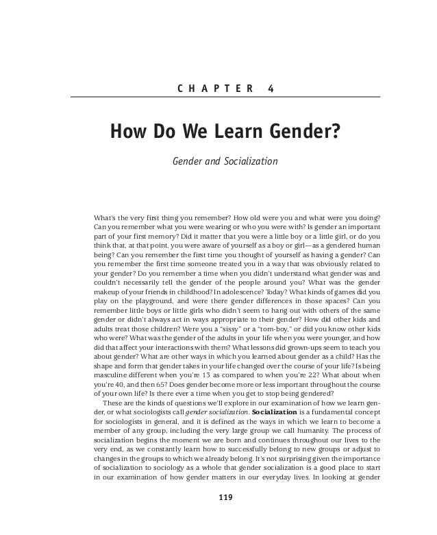 an examination of gender and socialization An exam ination of violence and gender role portrayals in video gam es: implication s for gender socialization an d aggressive behavior 1 social world approach to cultural studies: mass media and gender in the adolescent peer group.