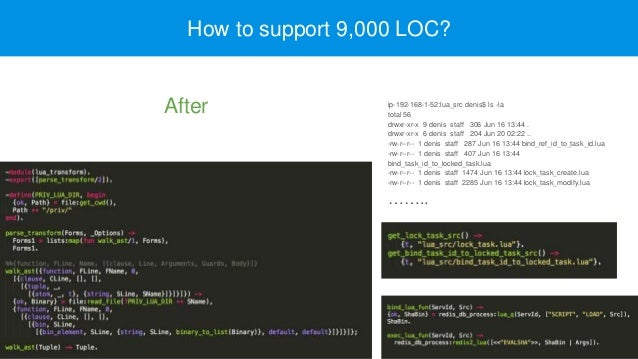 How to support 9,000 LOC? ip-192-168-1-52:lua_src denis$ ls -la total 56 drwxr-xr-x 9 denis staff 306 Jun 16 13:44 . drwxr...