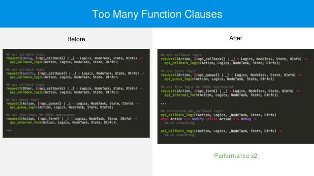Too Many Function Clauses Performance x2 Before After