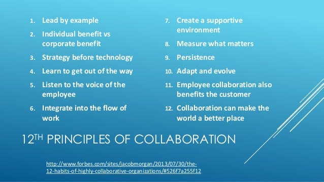 12TH PRINCIPLES OF COLLABORATION 1. Lead by example 2. Individual benefit vs corporate benefit 3. Strategy before technolo...
