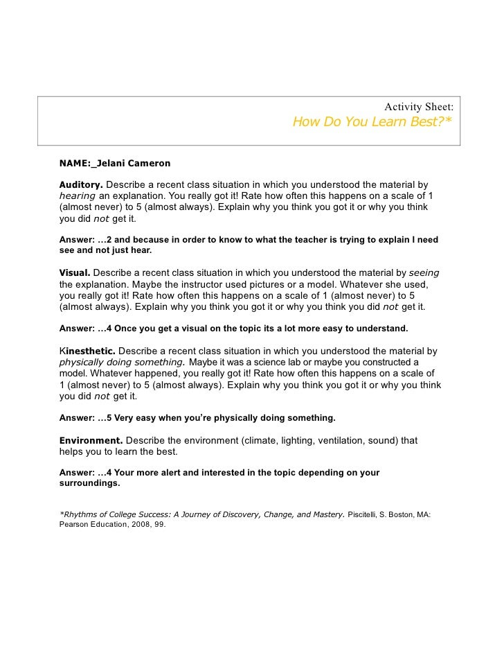 Activity Sheet:                                                              How Do You Learn Best?*NAME:_Jelani CameronAu...