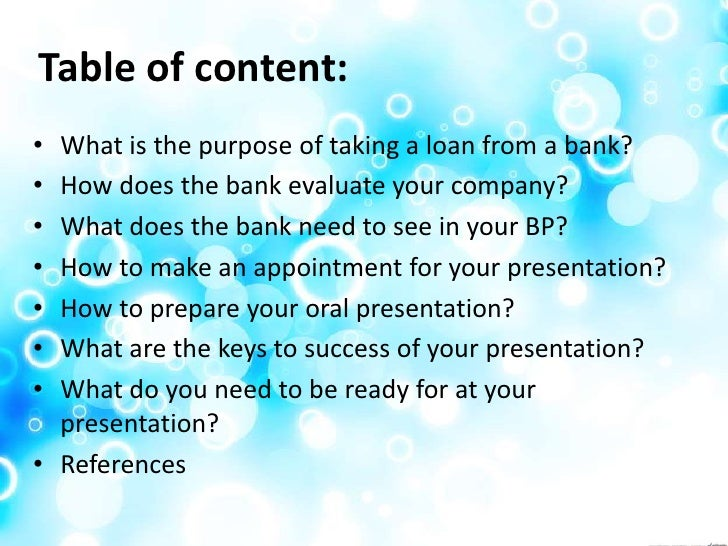 how to present a business plan to the bank