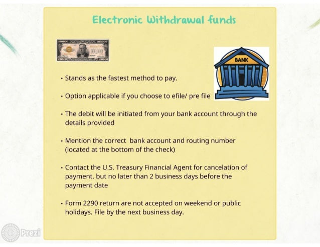 Electronic withdrawal «funds     - Stands as the fastest method to pay.      - Option applicable if you choose to efi| e/ ...