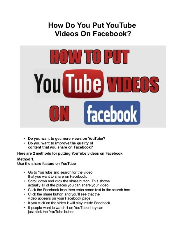 How Do You Put YouTube Videos On Facebook