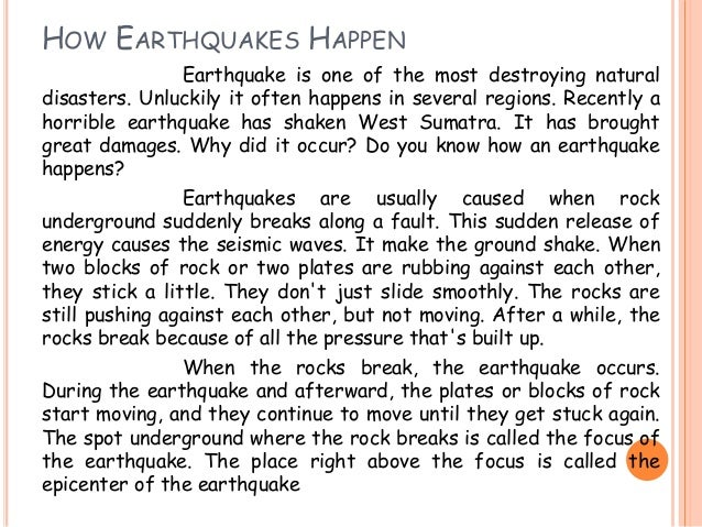how to explain what an earthquake is to a child
