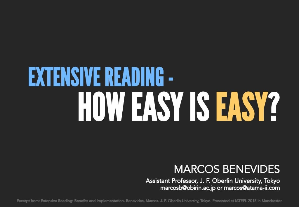 Extensive Reading: How easy is easy?