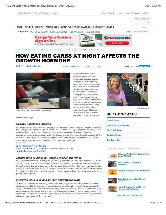 How eating carbs at night affects the growth hormone ...