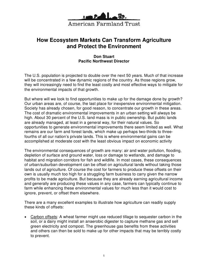 How Ecosystem Markets Can Transform Agriculture                 and Protect the Environment                               ...